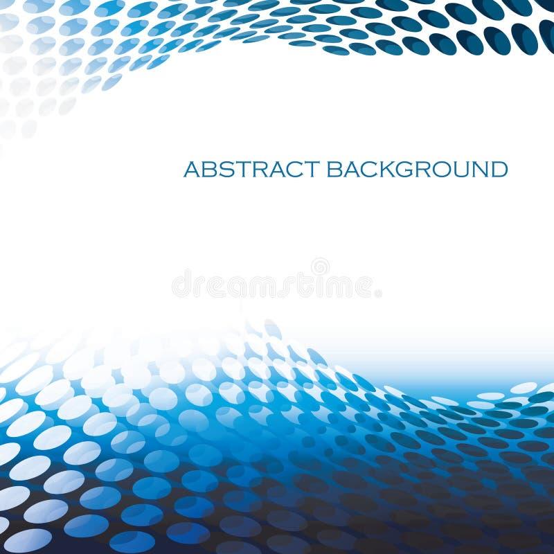Blå bakgrund för abstrakta runda modellvågor stock illustrationer