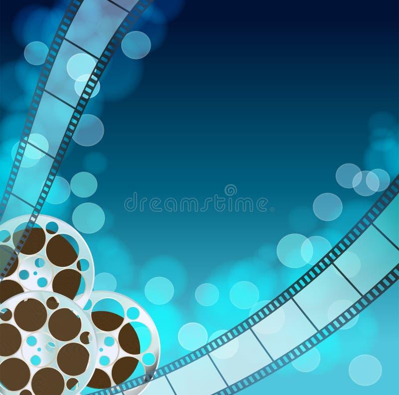 Blå bakgrund för bio stock illustrationer