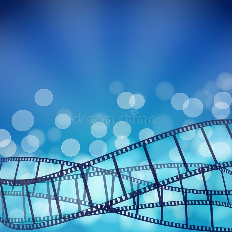 Blå bakgrund för bio med filmremsor och ljusa strålar vektor illustrationer