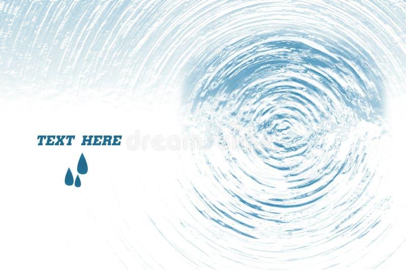 Blå bakgrund för cirkelvattenkrusning, efter vattendroppe, vattentextur, vit copyspacebakgrund royaltyfri illustrationer