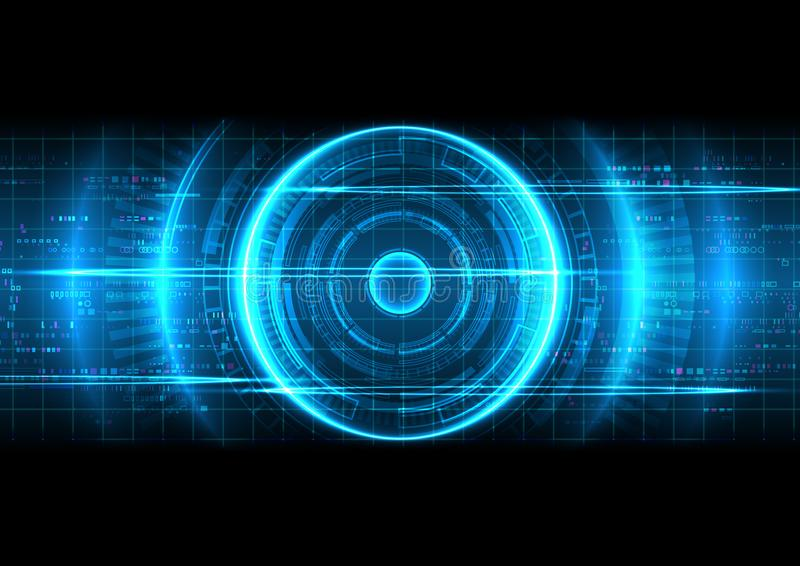 Blå bakgrund för Digital teknologi för PIXEL royaltyfri illustrationer