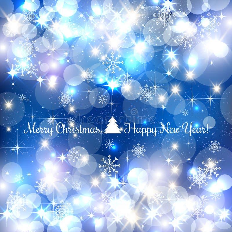 Blå bakgrund för glad jul med silversnöflingor, ljus, stjärnor också vektor för coreldrawillustration xmas vektor illustrationer