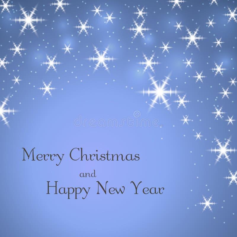 Blå bakgrund för glad jul med text Stjärnor vita vintersnöflingor Ljust xmas-kort lyckligt nytt år för beröm vektor illustrationer