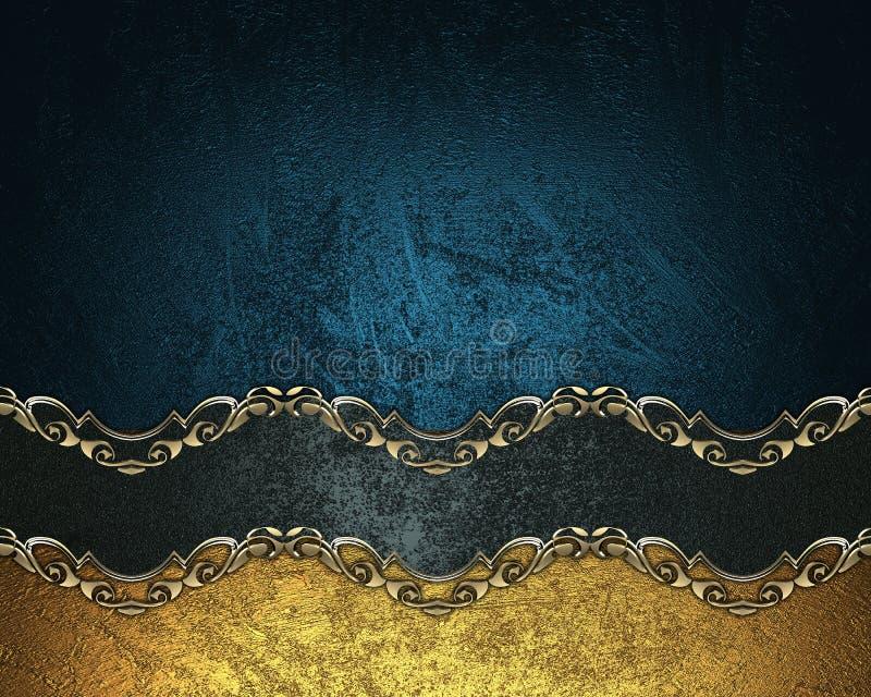 Blå bakgrund för Grunge med ett svart band med den guld- modellen Beståndsdel för design Mall för design kopieringsutrymme för an royaltyfri fotografi