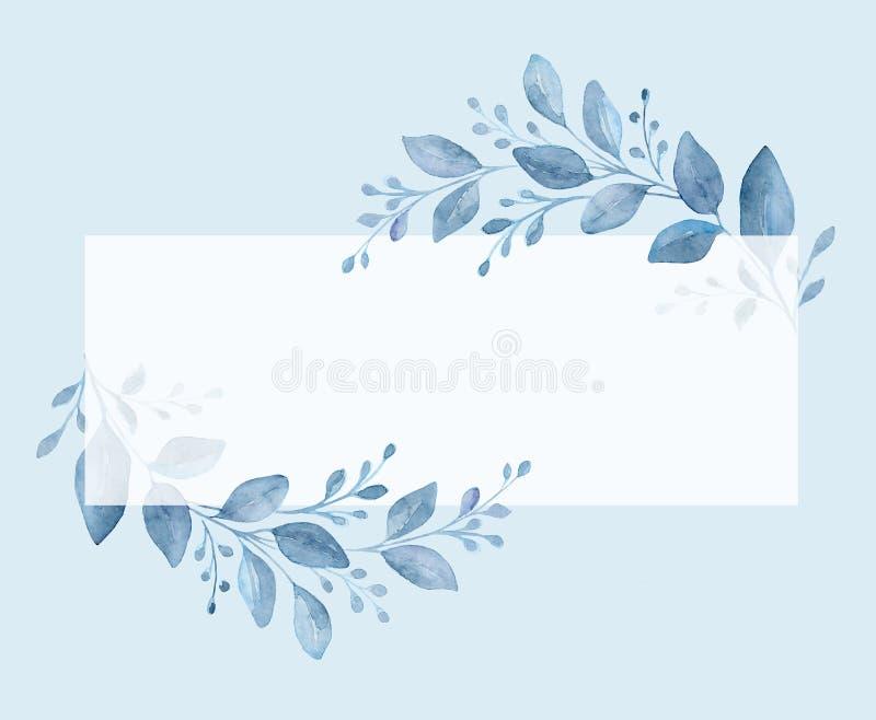 Blå bakgrund för Handpainted vattenfärg Botanisk logo royaltyfri fotografi