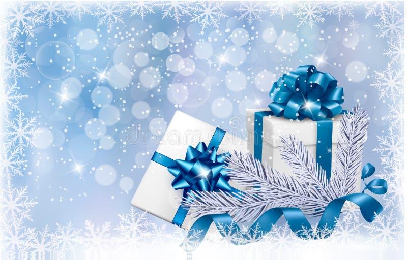 Blå bakgrund för jul med gåvaaskar vektor illustrationer
