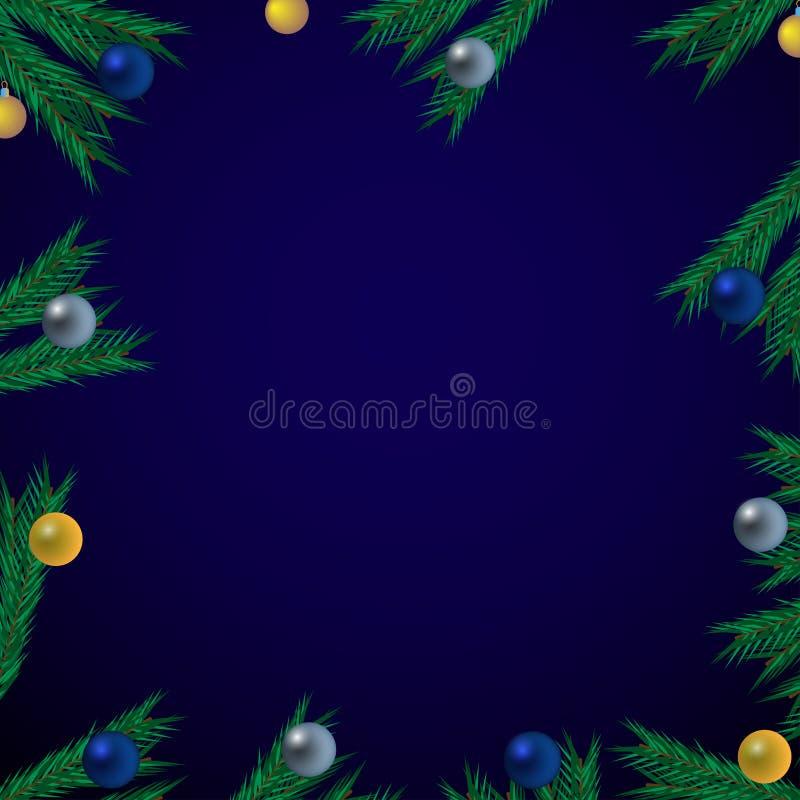 Blå bakgrund för jul med granfilialer och bollar stock illustrationer
