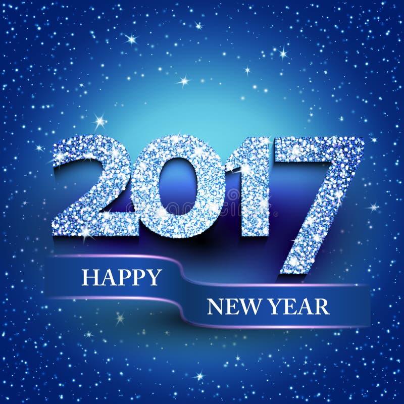Blå bakgrund för lyckligt nytt år 2017 vektor illustrationer