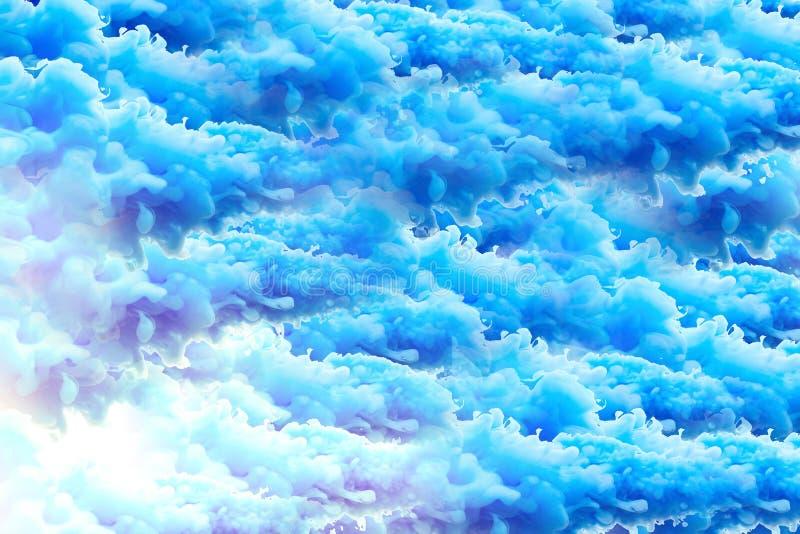 Blå bakgrund för moln i grungestil vektor illustrationer