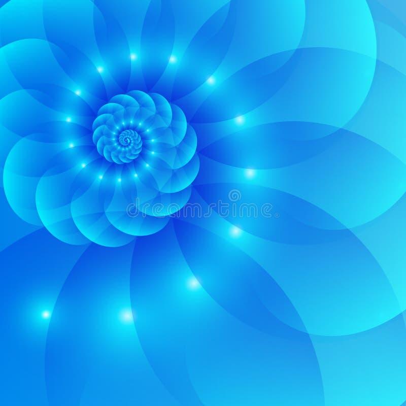 Blå bakgrund för spiralabstrakt begreppvektor vektor illustrationer