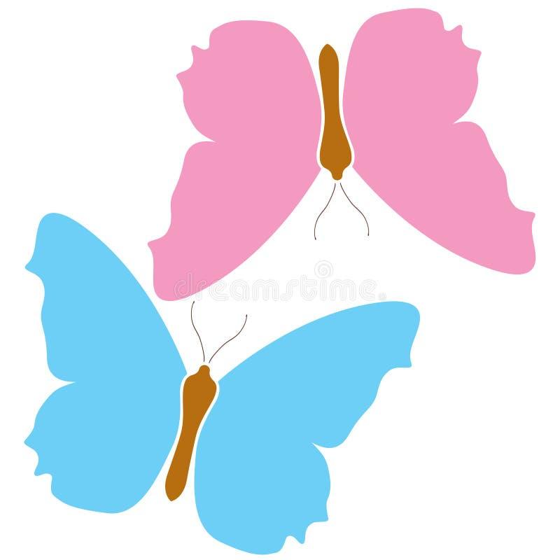Blå bakgrund för symbol för fjäril rosa isolerad vit logo Färgrikt härligt färgvingsymbol Tropisk natur för vektor vektor illustrationer