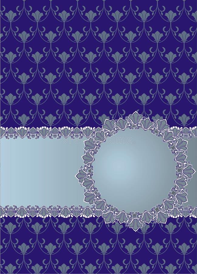 Blå bakgrund för tappning med den blom- ramen royaltyfri illustrationer