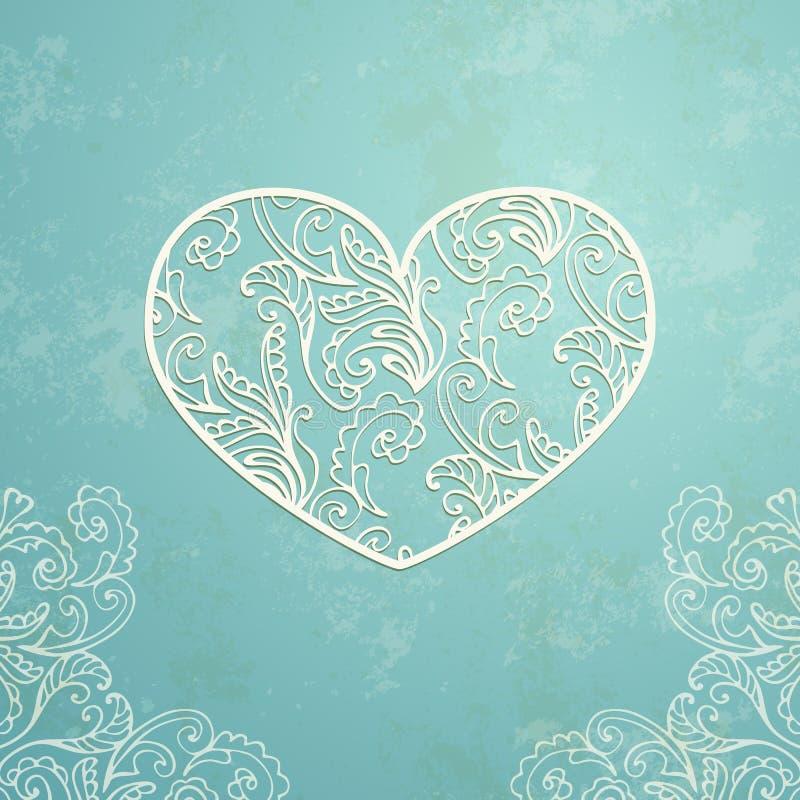 Blå bakgrund för tappning med gammal pappers- textur och abstrakt dekorativ spets- hjärta royaltyfri illustrationer