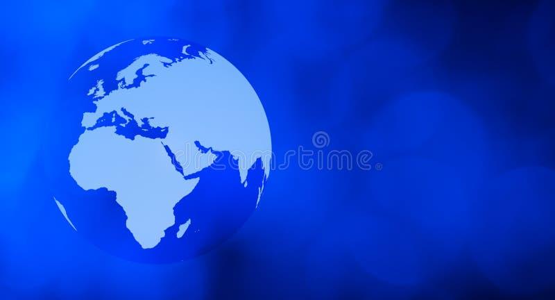 Blå bakgrund för världsjordklotteknologi arkivfoto