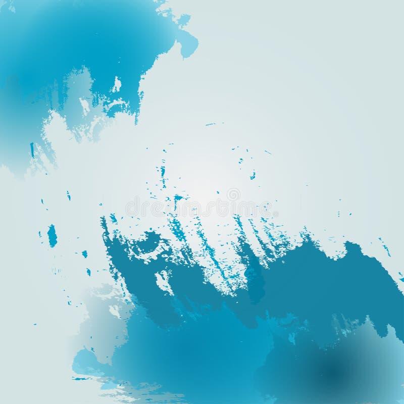 Blå bakgrund för vattenfärg Akvarellazurbakgrund Modellen av färgpulvret bläckar ner för kort, baner vektor royaltyfri illustrationer