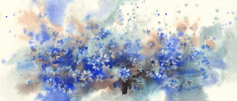 Blå bakgrund för vattenfärg för skog för blåsippablommor på våren royaltyfri fotografi