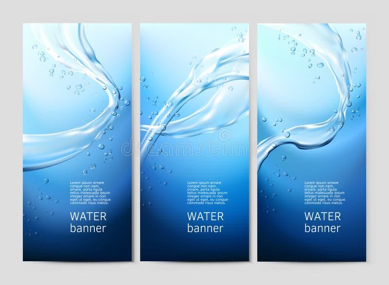 Blå bakgrund för vektor med flöden och droppar av kristallklart vatten vektor illustrationer