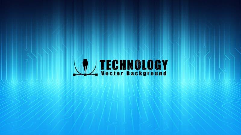 blå bakgrund för vektor för strömkretsserverbord, bakgrund för kommunikationsteknologi, datorbärare, hastighetsinternetuppkopplin royaltyfri illustrationer