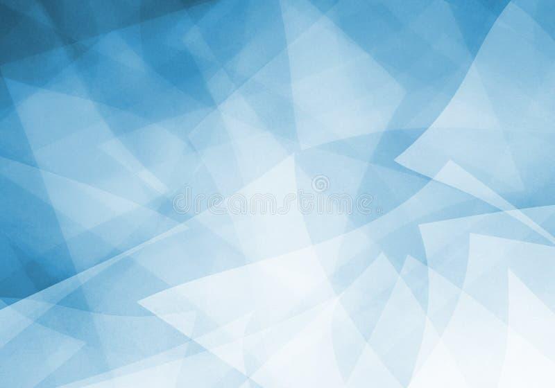 Blå bakgrund med abstrakta formdesignbeståndsdelar i vita genomskinliga lager royaltyfri illustrationer
