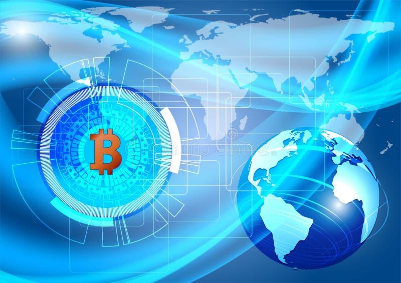 Blå bakgrund med Bitcoin digital valuta och jord NASA för begrepp för vektorillustrationteknologi stock illustrationer
