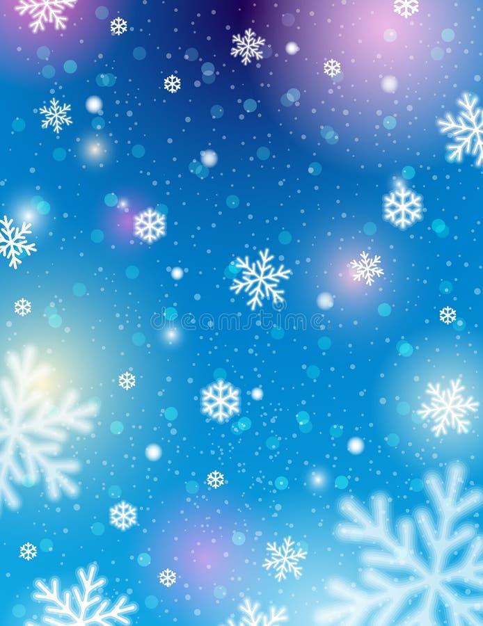 Blå bakgrund med bokeh och suddiga snöflingor, vektor stock illustrationer