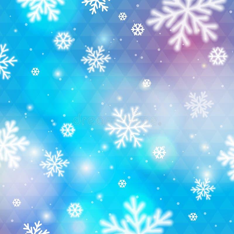 Blå bakgrund med bokeh och suddiga snöflingor, vektor vektor illustrationer