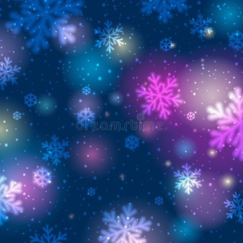Blå bakgrund med bokeh och suddiga snöflingor, vektor royaltyfri illustrationer