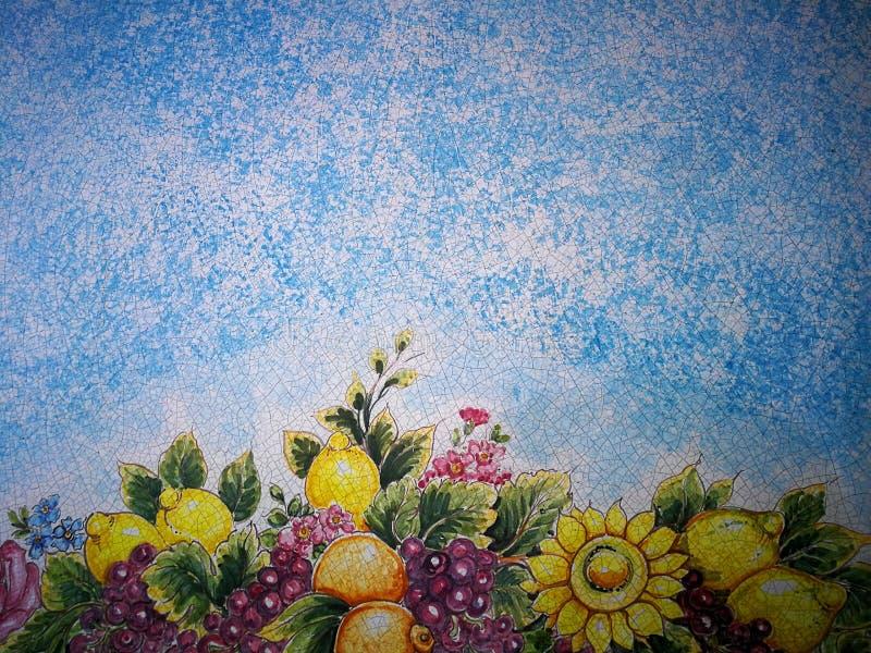 Blå bakgrund med den blommade mosaiken och fruktmodellen vektor illustrationer