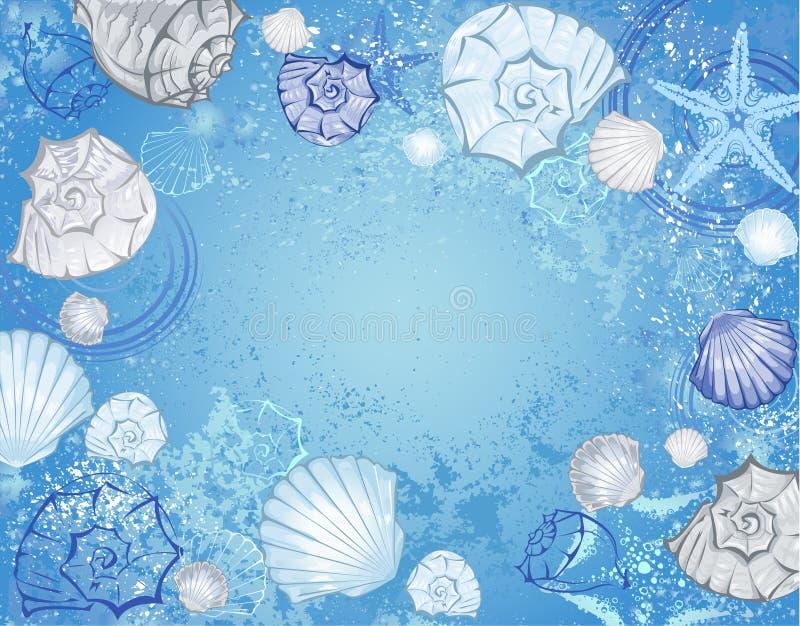 Blå bakgrund med havsskal royaltyfri illustrationer