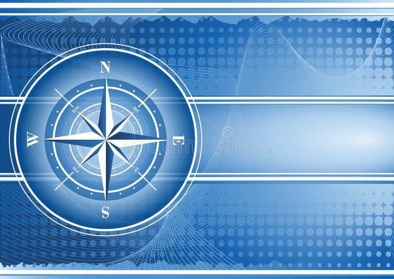 Blå bakgrund med kompasset steg. vektor illustrationer
