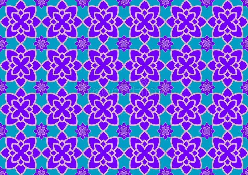 Blå bakgrund med purpurfärgade prydnader vektor illustrationer