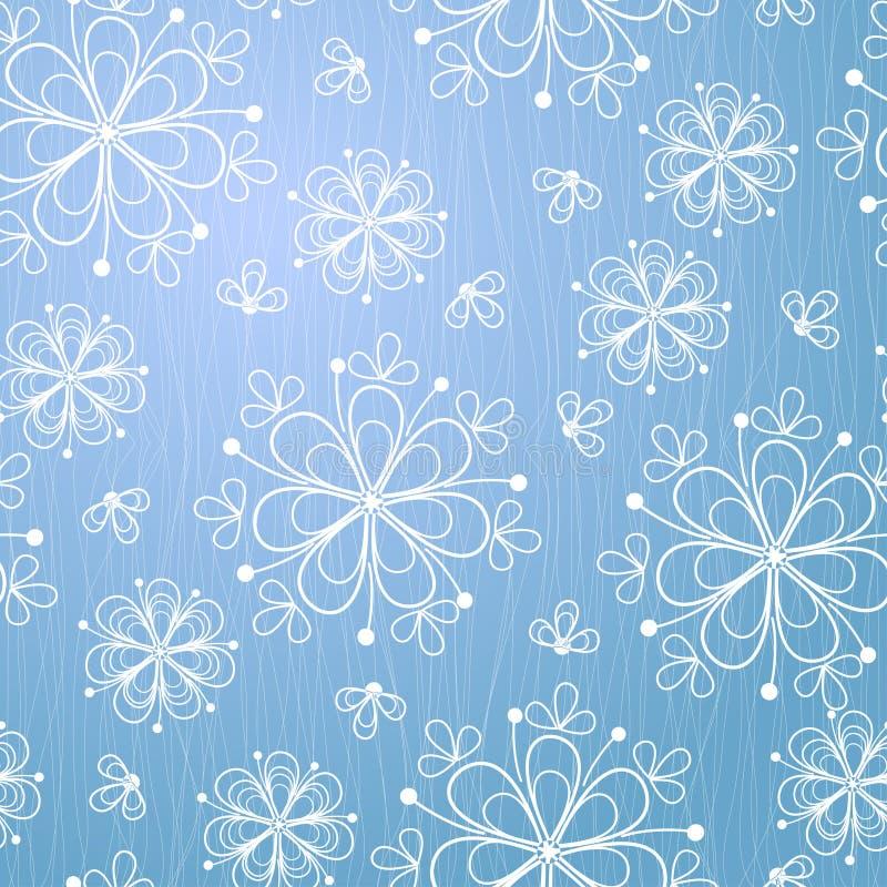 Blå bakgrund med snöflingan stock illustrationer