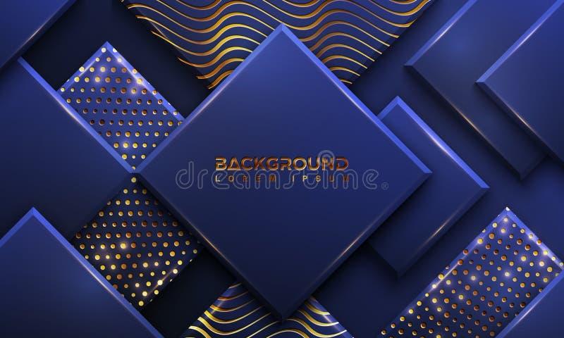 Blå bakgrund med stil 3D Lyxig bakgrund med en kombination av prickar och linjer vektor f?r bakgrund eps10 royaltyfri illustrationer