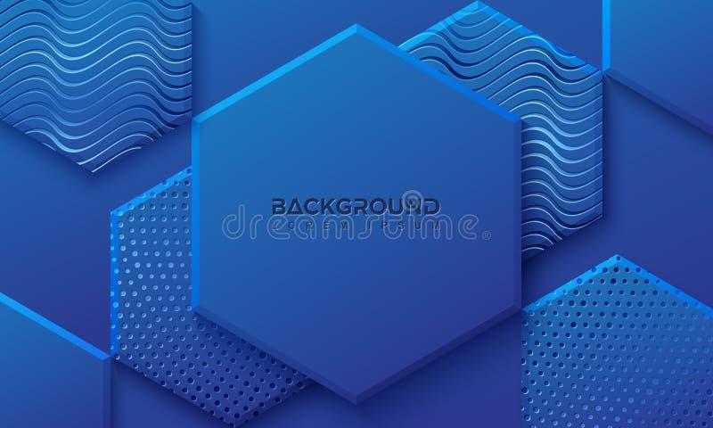 Blå bakgrund med stil 3D Sexhörningsbakgrund med en kombination av prickar och linjer vektor f?r bakgrund eps10 stock illustrationer