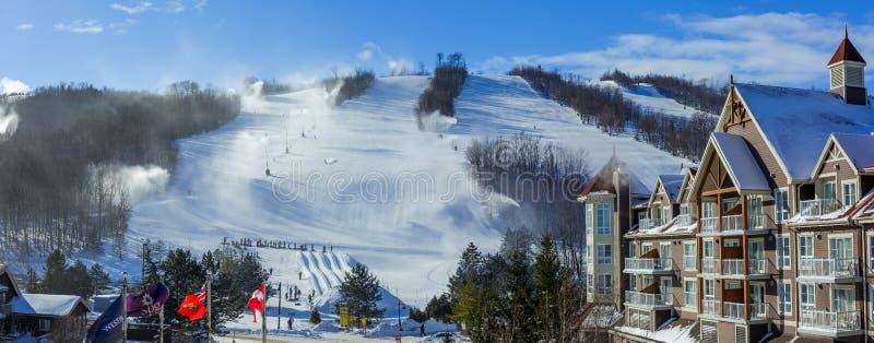 Blå bergby i vinter royaltyfria foton