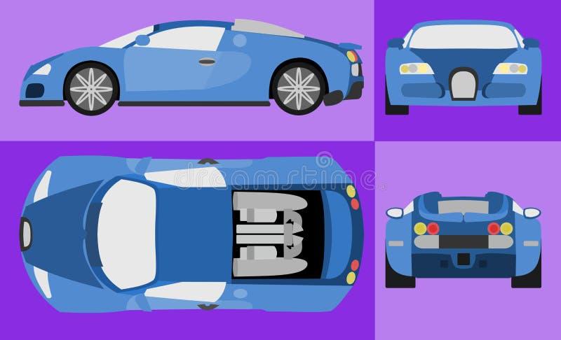 Blå bilvektor vektor illustrationer