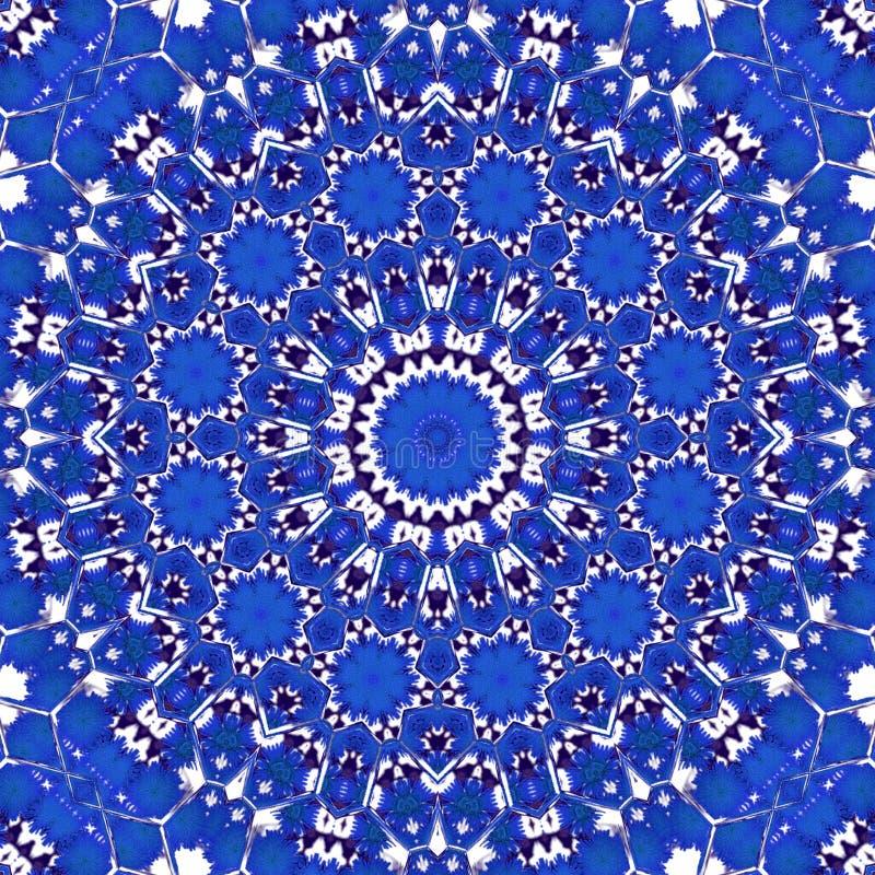 Blå blåklint för mystiker i blom- kalejdoskopstil för cirkel royaltyfri bild