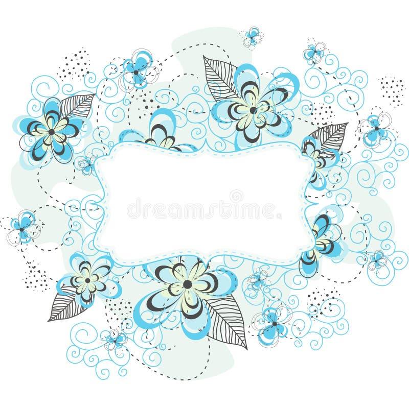 Blå blom- bakgrundsetikett vektor illustrationer
