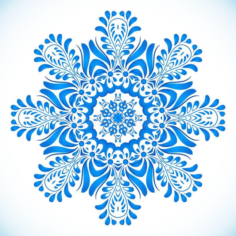 Blå blom- cirkelmodell i gzhelstil royaltyfri illustrationer