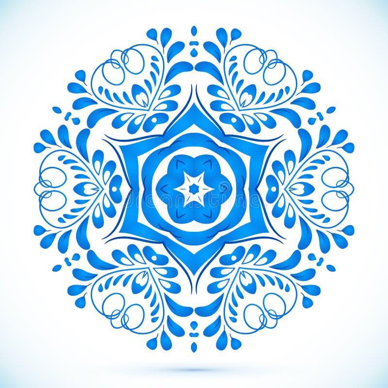 Blå blom- cirkelmodell i gzhelstil stock illustrationer