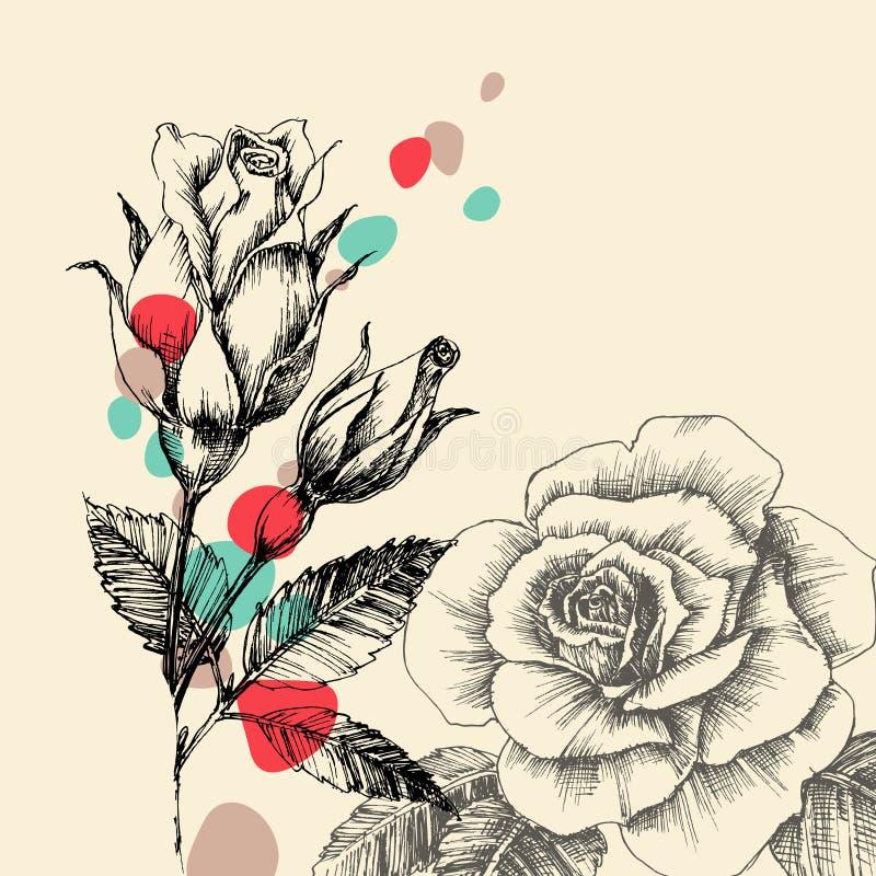 blå blom- hälsning för kortdesign stock illustrationer