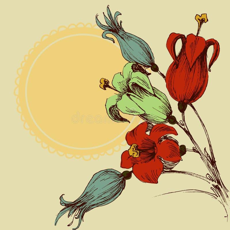 blå blom- hälsning för kortdesign vektor illustrationer