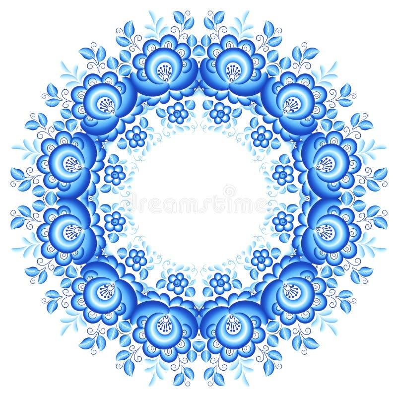 Blå blom- rund ram i gzhelstil vektor illustrationer