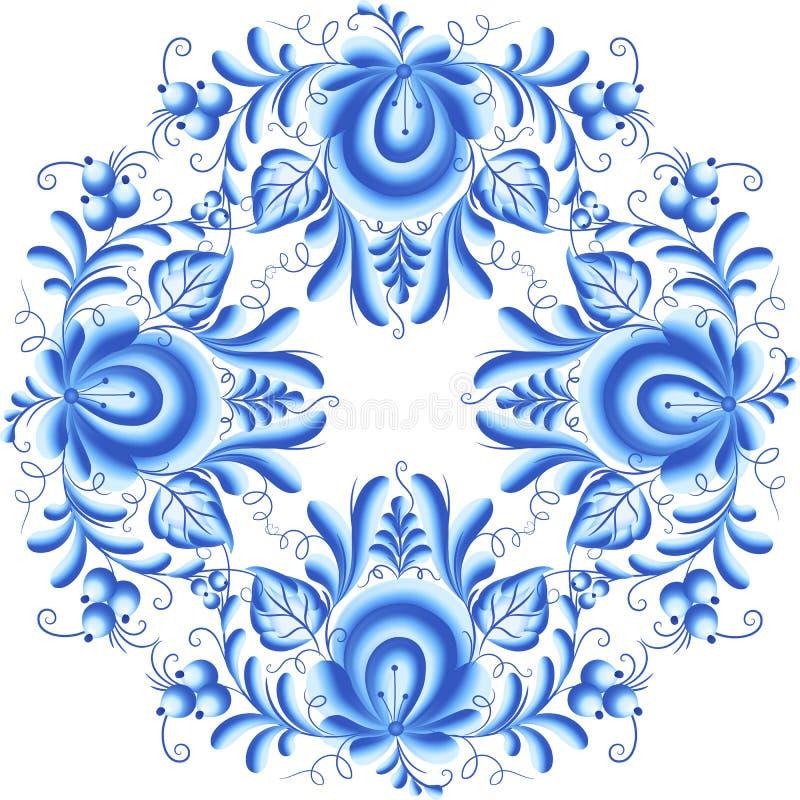 Blå blom- rund ram i gzhelstil stock illustrationer