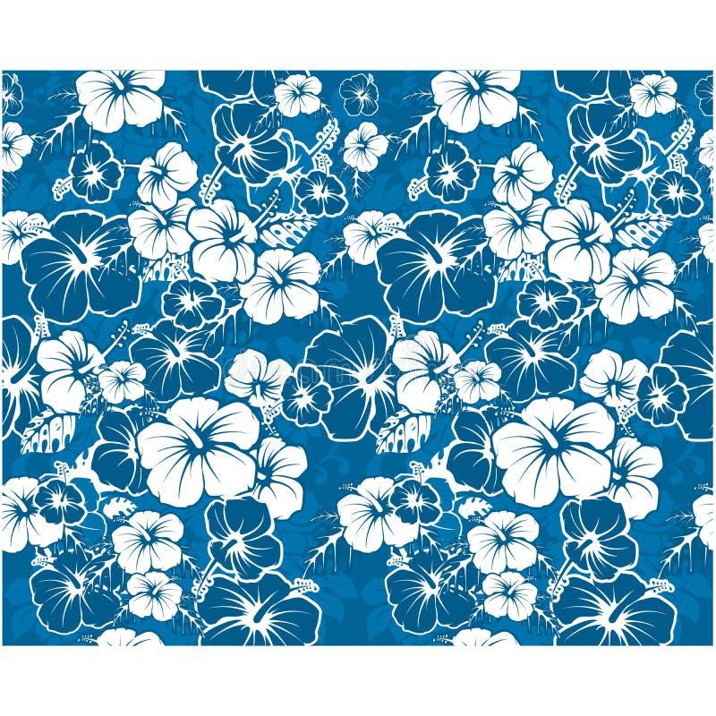 Blå blom- sömlös bakgrund med hibiskusblommor vektor illustrationer