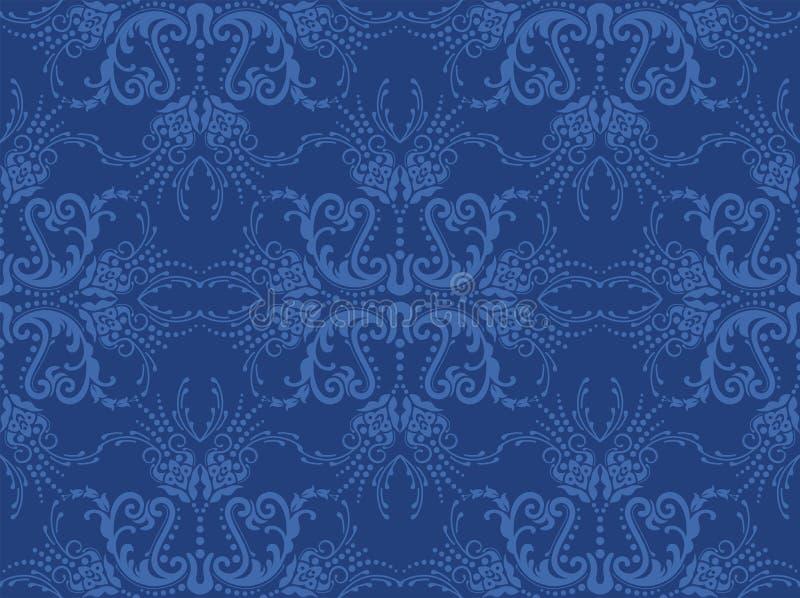 blå blom- seamless wallpaper royaltyfri illustrationer