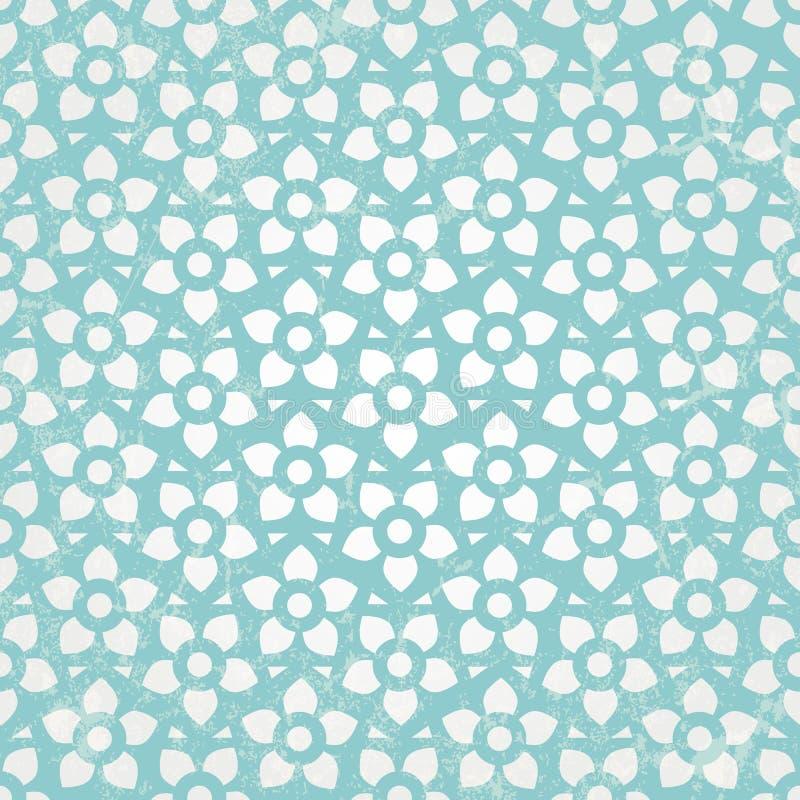 Blå blom- tapet. Sömlös bakgrund för vektor. royaltyfri illustrationer