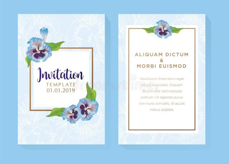 Blå blommainbjudandesign stock illustrationer