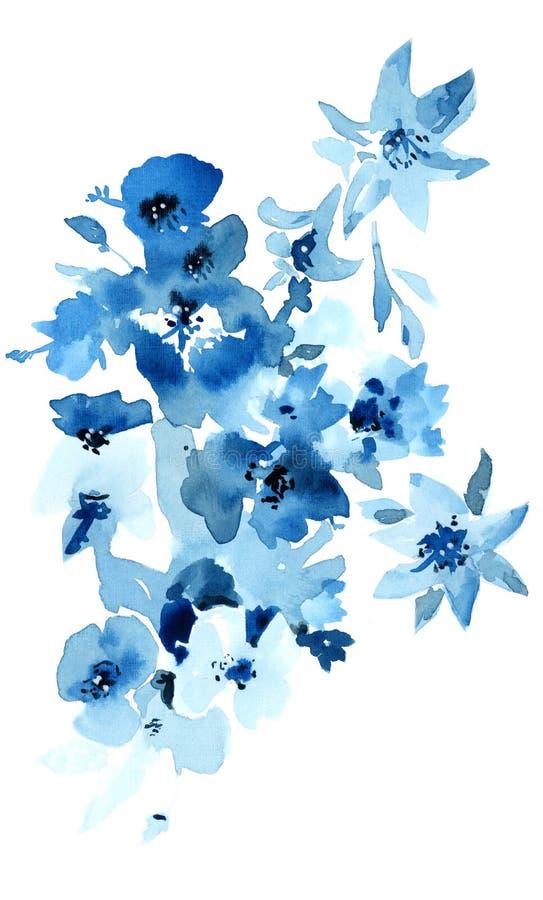 Blå blommavattenfärgillustration Isolerade objekt på vit bakgrund för desig vektor illustrationer