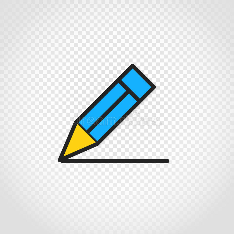 Blå blyertspennavektorsymbol på genomskinlig bakgrund royaltyfri illustrationer